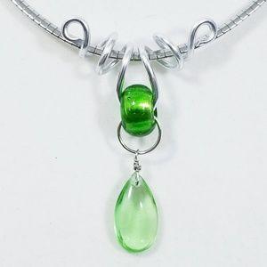Aluminum Silver Spiral Pendant Green Glass Bead